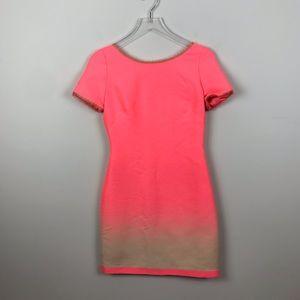 ELIE TAHARI | Hot Neon Pink Ombre Sheath Dress